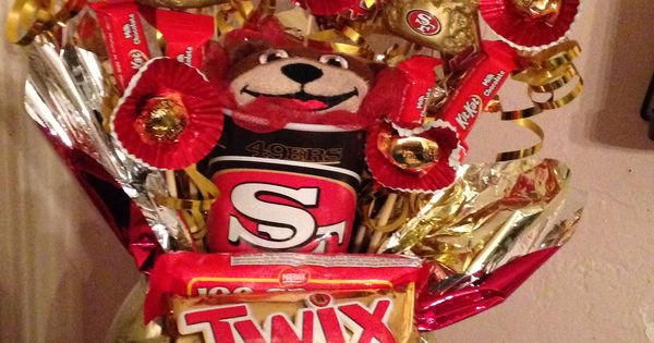 49ers Candy Bouquet Made Of Candy And Things Found At Walmart My Creations Pinterest Man Bouquet Sugar Free Cupcakes And Candy Bouquet
