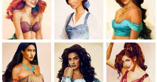 """real"" disney princesses by jirka vaatainen... snow white, cinderella, aurora, ariel, belle,"
