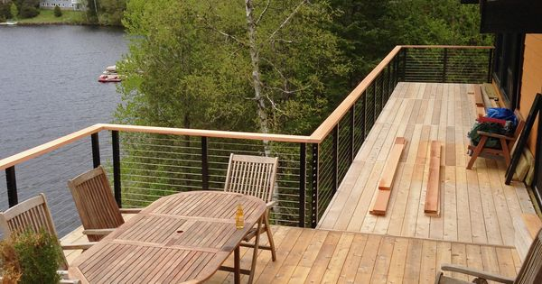 Lake House In Montreal Canada Elevated Deck Update With Cable Railing Syste