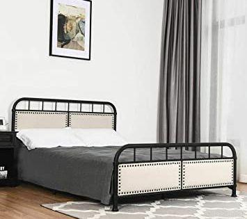 Stark Item Queen Size Metal Bed Frame Upholstered Platform Bed Panel Headboard Footboard In 2020 Headboard And Footboard Upholstered Panels Queen Size Metal Bed Frame