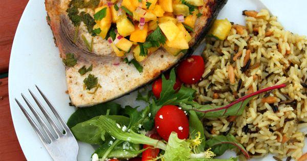 Grilled Swordfish with Pineapple- Peach Salsa | Peach salsa, Cedar ...