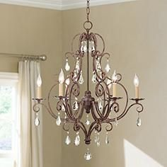 Feiss Chateau Collection Mocha Bronze Crystal Chandelier Crystal