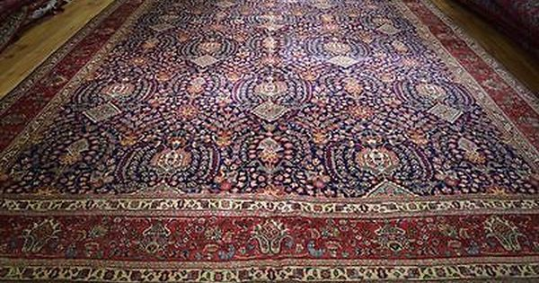 12 X 16 Authentic Persian Tabriz Rug Navy Blue Traditional Handmade Iran Navy Rug Persian Tabriz Rug Tabriz Rug