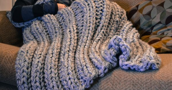 Chunky knit blanket cozy wool lap blanket afghan by CraftyyAllie Crochet. ...