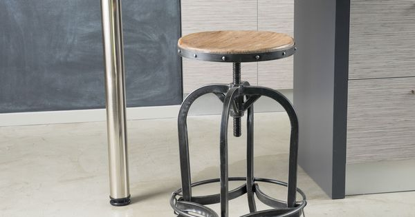 Adjustable 26 Inch Natural Fir Wood Finish Bar Stool By
