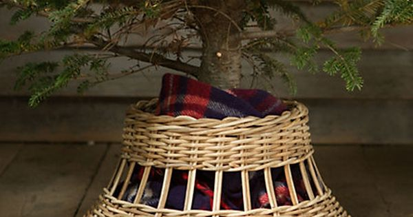 Upcycle an old basket for a tree skirt.