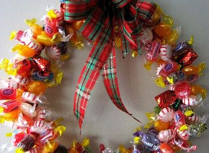 A Sutphin family tradition-Candy wreaths. This makes a fun, yummy gift for