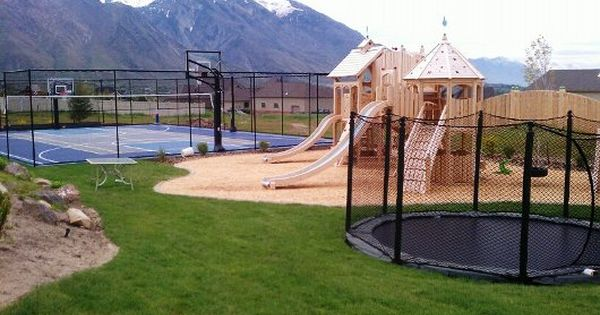 Sports Court Trampoline In The Ground Play Ground Backyard Landscaping Landscape Contractor In Alpine Utah Backyard Sports Backyard Trampoline Backyard Fire