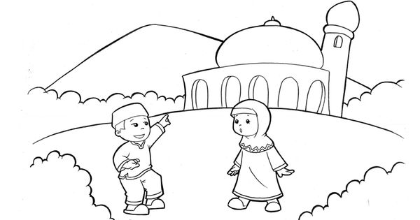 Let S Go To The Masjid Coloring Buku Mewarnai Kartun Sketsa