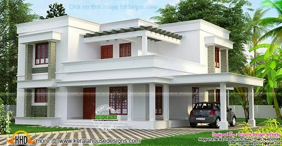 Simple But Beautiful Flat Roof House Kerala Home Design Flat Roof House Flat Roof House Designs Kerala House Design