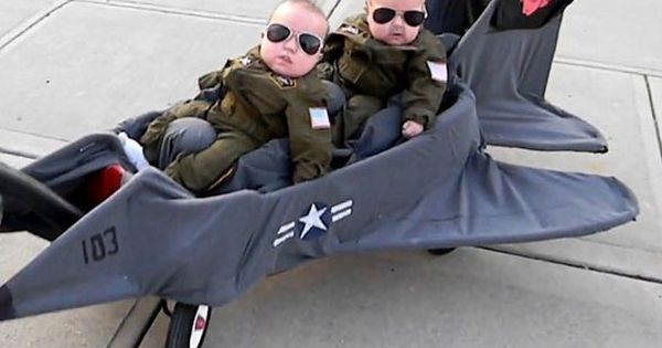 Babies in a wagon halloween costume idea! Jet pilots like from Top
