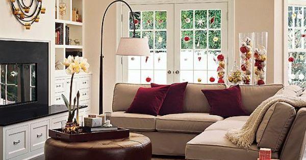 Beige Sofa Burgundy Cushions Decorating For The Holidays Home Pinterest Beige Sofa