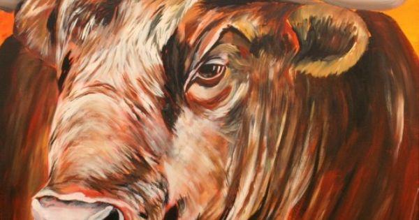 Schilderij stier oranje rood bruin modern schilderijen landelijk interieur pinterest stier - Moderne overwinning ...