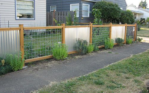 Corrugated Sheet Metal Fence But Do Horizontal Wood