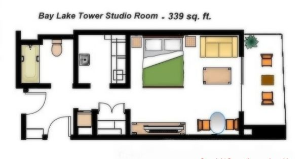 Bay Lake Tower Studio Floor Plan: Bay Lake Tower At Disney's Contemporary Resort Studio Room