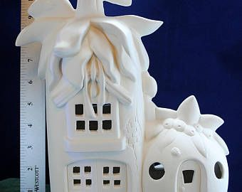 Fairy Treehouse Fairy House Fairy Cottage Fun To Paint Etsy In 2020 Fairy Garden Etsy Ready To Paint Ceramics Clay Fairy House