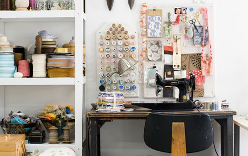 sewing room, home, studio, desk, storage, shelving, vintage scissors, chair, furniture, work