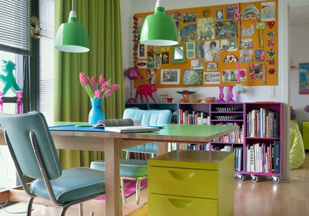 I love love this colorful office space. The windows, the chair, the