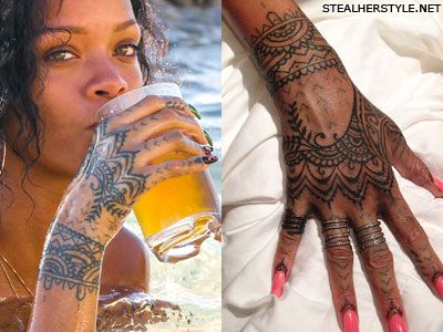 gotta admit love rihannas hennamehndi style tattoo - Henn Ou Coloration