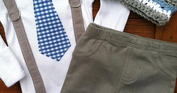 Onesie with Tie - Onesie with Gingham Tie, Gray Suspenders, Gray Pants