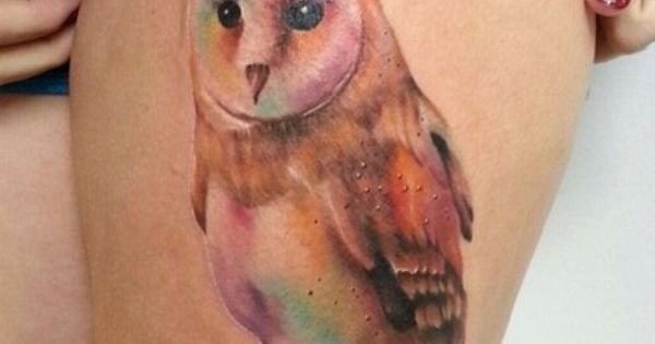 owl watercolor tattoo ink