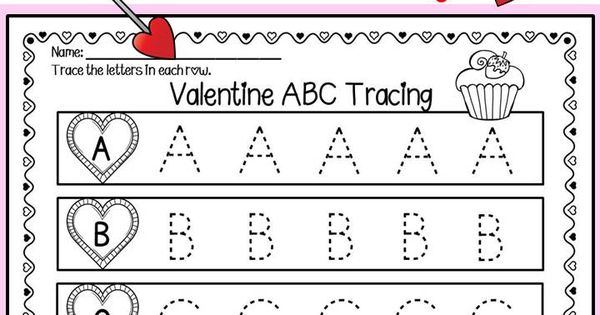 valentine abc tracing printables small groups closer and printables. Black Bedroom Furniture Sets. Home Design Ideas