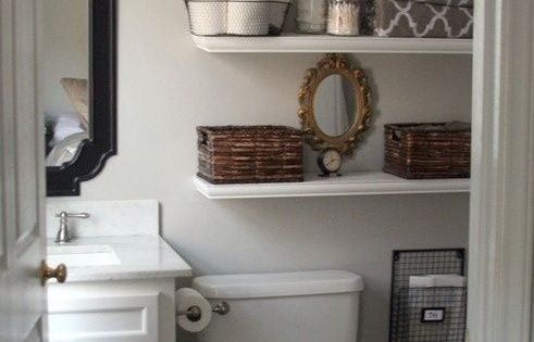 Small bathroom solution buy shelving for above the toilet - Small bathroom storage boxes ...