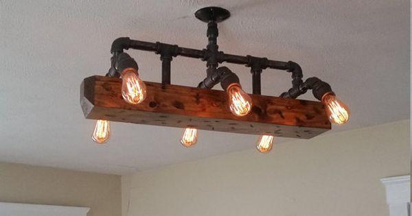 Wood beam light chandelier industrial pipe lighting for Diy wood beam light fixture
