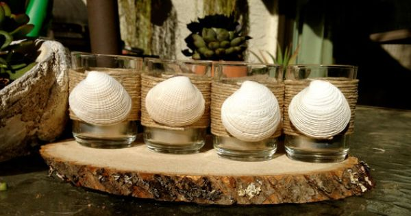 Set of Four Clam Shell Seashell Votives