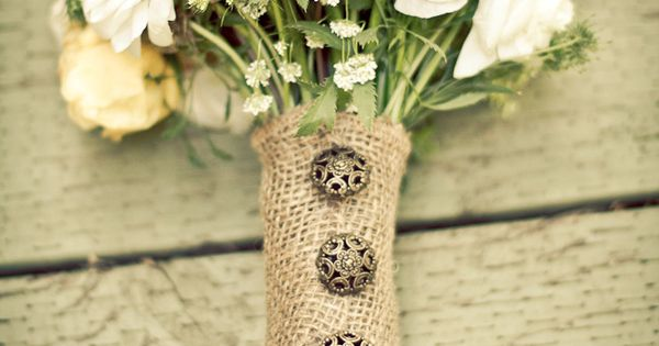 Burlap wrapped wedding bouquet