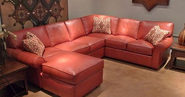 Leather Sectional With Chaise Corner Rounded Arms In Tomato Country Willow Furniture