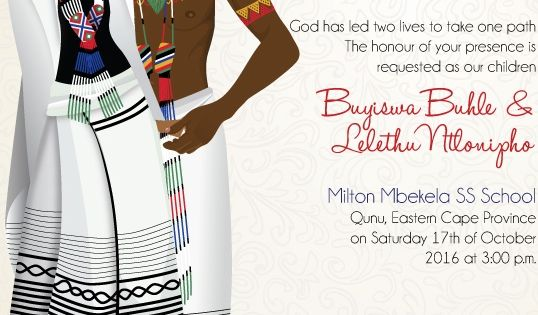 South african xhosa traditional wedding invitation card for Xhosa traditional wedding invitations