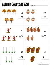 Fall Autumn Preschool And Kindergarten Math Worksheet Fall