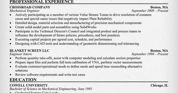 Mechanical Engineering Resume Sample Work Stuff Pinterest - test engineering resume