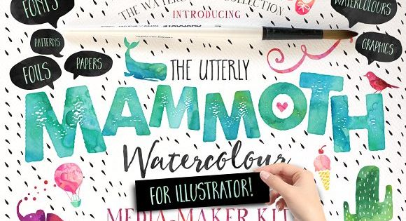 Mammoth Watercolour Fonts for greeting cards, logos, packaging, invitations, stationery and merchandise