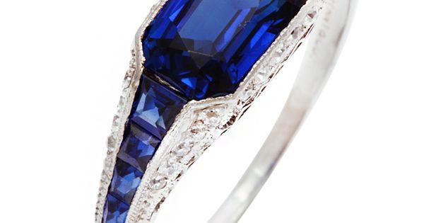 Art Deco TIFFANY Sapphire Diamond Platinum Ring USA 1920s Sapphire and diamond