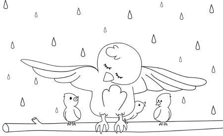 Disegni Da Colorare Dolce Mamma Uccellino Con I Suoi Piccoli