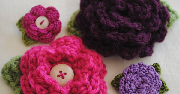 Crochet Flower Hair Clip Hooks & Needles Pinterest Crochet ...