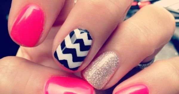 Pink, Gold and Zig-Zag Nails
