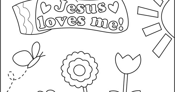 coloring sheet jesus loves me girljpg