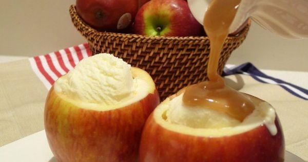 Caramel Apple Ice Cream Bowls. Ingredients: 4 apples, 1 tbsp sugar, 1