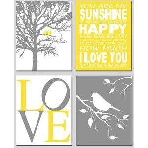 Free Yellow And Grey Printables Nursery Art Grey Bird Nursery