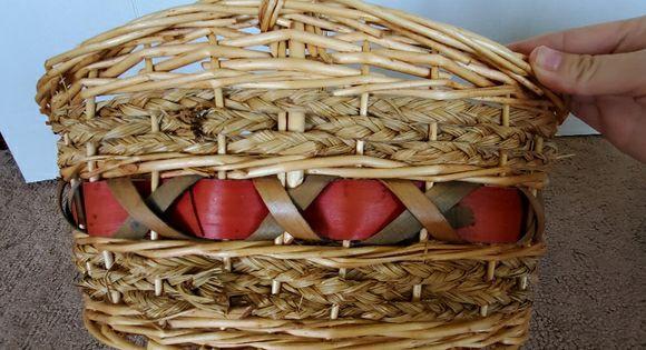 Oval Rattan Wicker Basket Round Handle 13x13x15 In 2020 Wicker Baskets Wicker Rattan