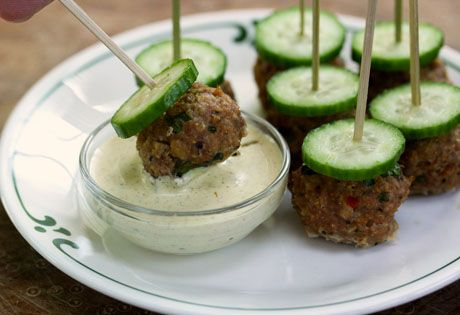 hot or mild Italian turkey sausage meatballs with fennel-mustard sauce ...
