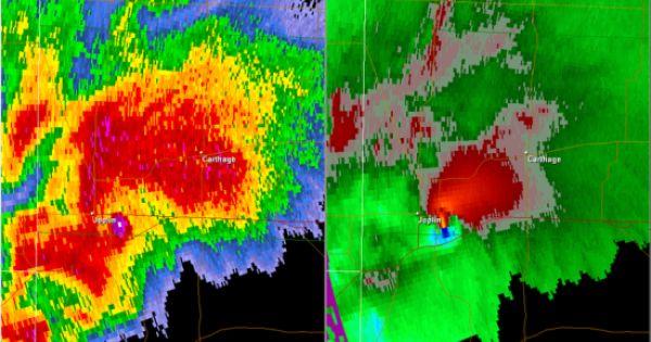 A Radar Image Of The Supercell That Produced The 2011 Joplin Tornado Base Reflectivity Is On The Left And Storm Relative Velocit Joplin Tornado Joplin Tornado