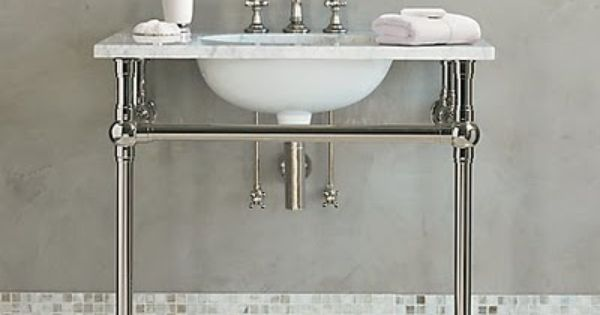 Metal Console Sink With Marble Countertop Bathroom Remodel Pinterest Countertop And Consoles