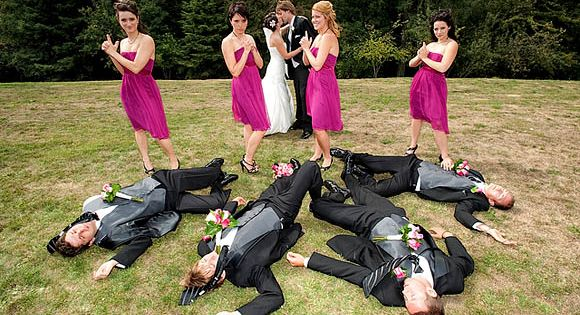 funny wedding pose