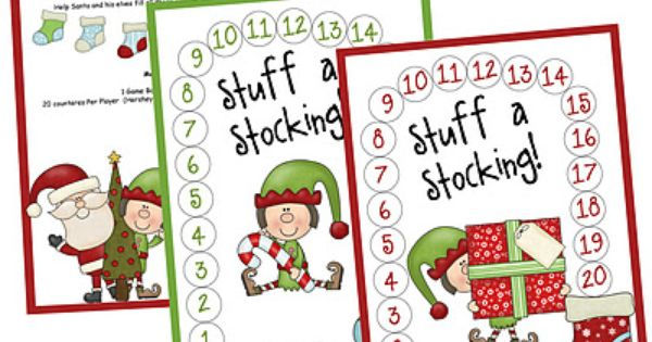 Stuff-a-Stocking Preschool Math Game.