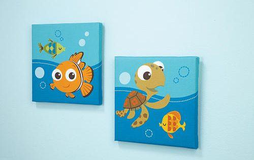 Disney baby finding nemo 2 piece canvas wall art disney for Finding nemo bathroom ideas