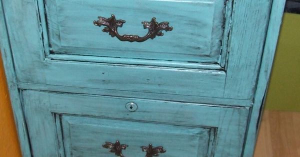 Antique Wooden File Cabinets With Vintage Hardware And